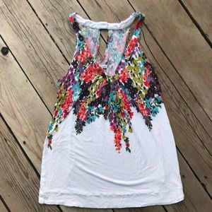 American Eagle Halter Tank White & Floral--Large